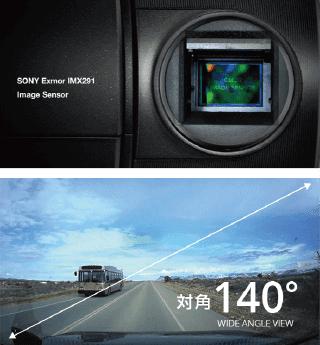 SONY Exmor R STARVIS画像センサー搭載(前方/後方)